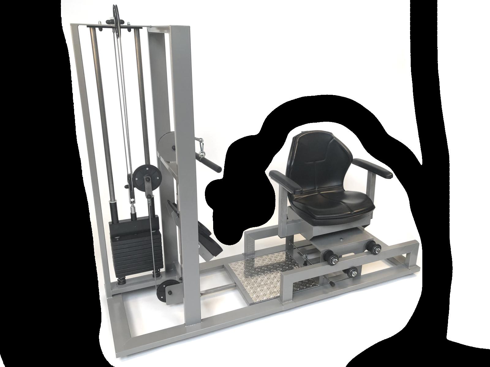 GeroFitness Compactrower is een hele compacte beendrukmachine